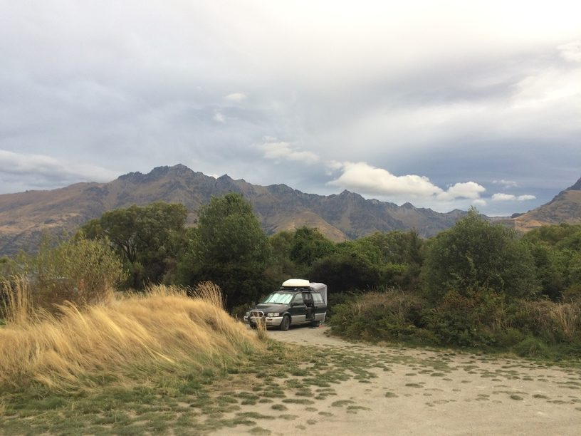 Vehicle camping at 12 Mile Delta DOC site outside of Queenstown